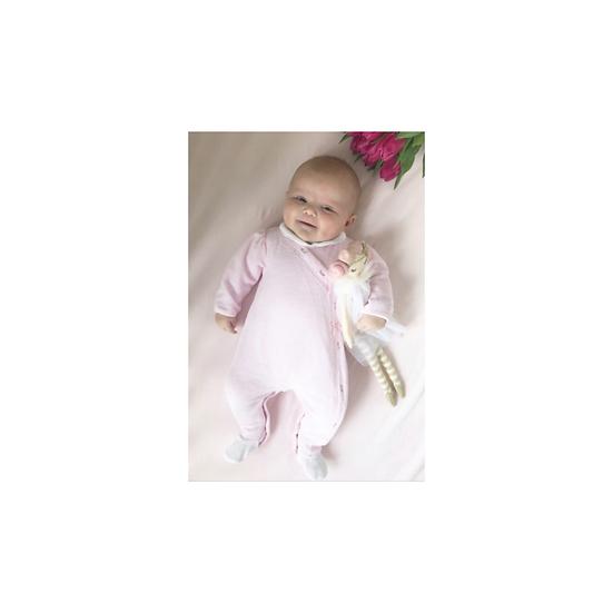 Emile et Rose pink velour Babygrow with flower print trim
