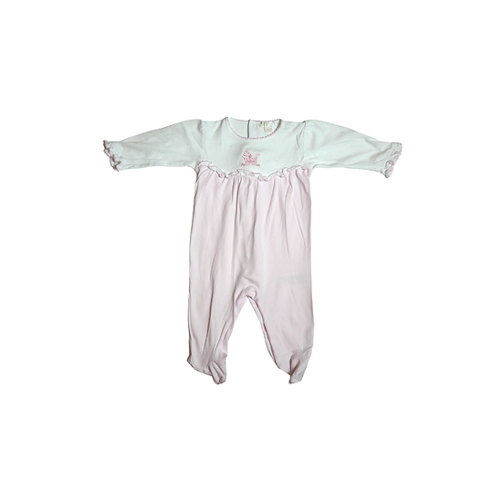 Kissy Kissy pink babygrow with white top and pram motif