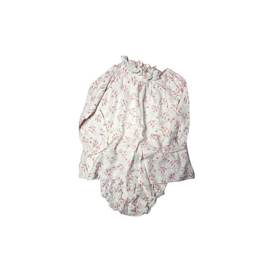 Marie Chantal White Dress with Pink Leaves and bloomers