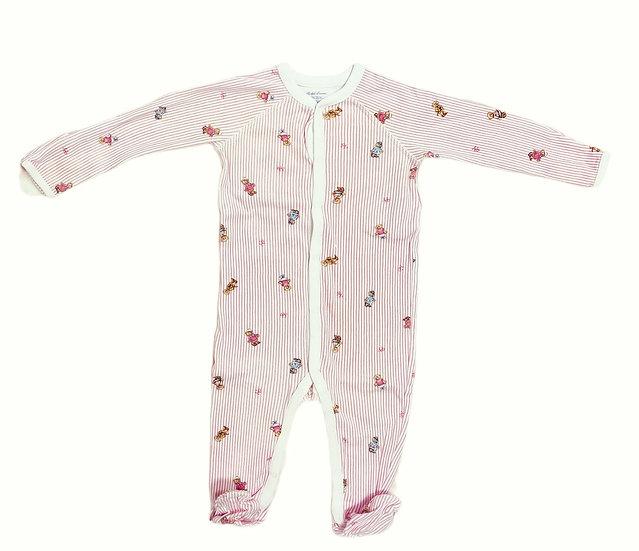 Ralph Lauren Cotton Onsie Pink Stripe with Teddy Bears