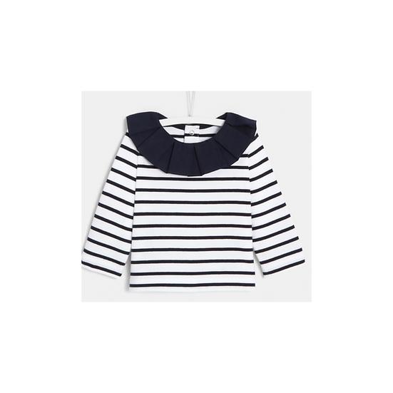 Jacadi Navy & White Stripped Nautical Shirt with Frill Collar