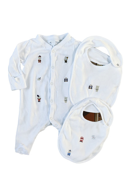 The Little White Company London Bear Embroidered baby grow and bibs