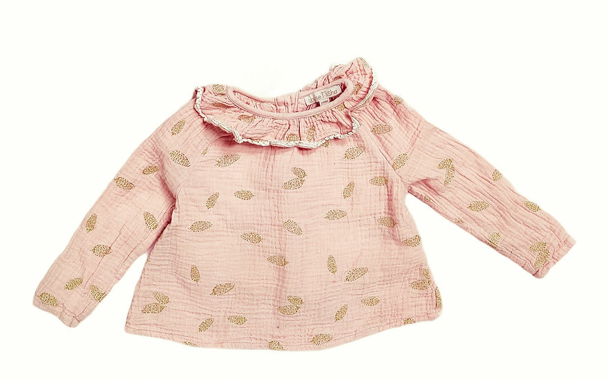 Louise Misha Peach Top with gold leaves