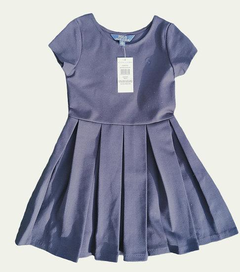 Ralph Lauren Navy Pleat Cotton Dress