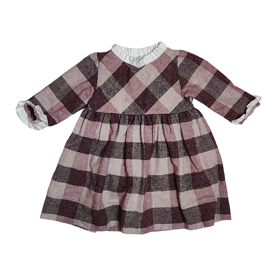 Mebi root purple check dress with frill collar and cuffs