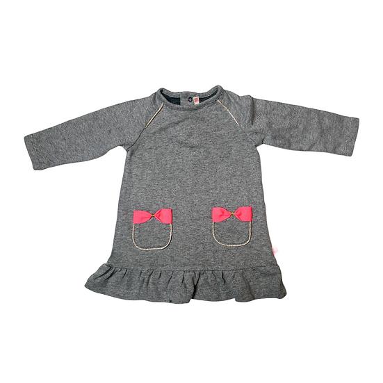 Billieblush Grey Dress with Pink Bow Pockets