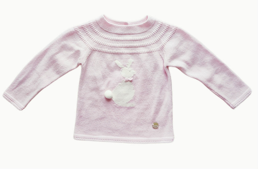 Artesania Granlei baby pink knit jumper with bunny