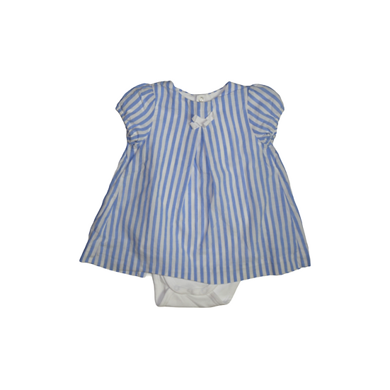 Jacadi blue and white stripe shirt over vest