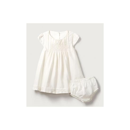 The Little White Company Smocked Christening Dress 100% Silk