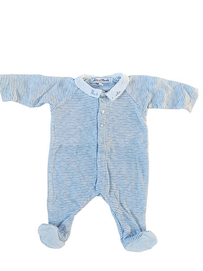 Tartine et Chocolat Blue and white stripped cotton Babygrow