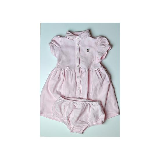 Ralph Lauren Pink and white Oxford Mesh Shirt Dress and Bloomer Set