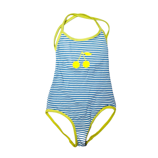 Bonpoint blue and white stripped swimsuit with lime green trim