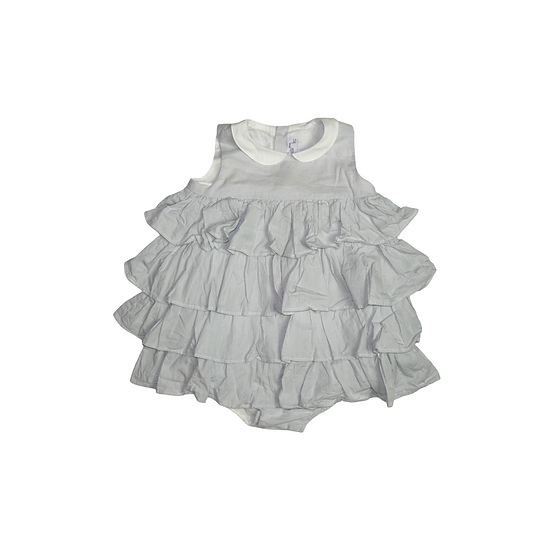Chateau de Sable grey and white stripped ruffle romper
