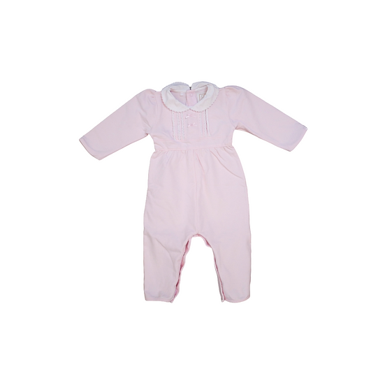 Emile et rose baby pink footless babygrow with frill collars and bows