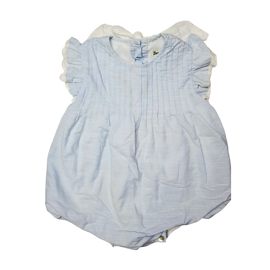 Benedita by Insua  Baby Blue Romper with white bows