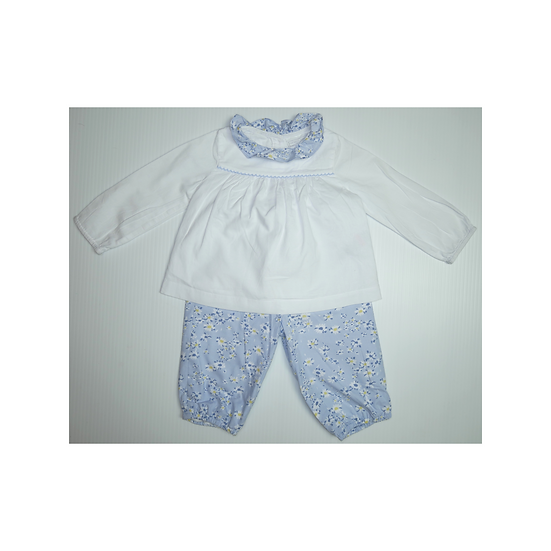 The Little White Company Blue Floral Shirt and Trouser Outfit