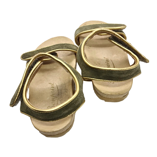Bonpoint Suede Sandals Green and Gold