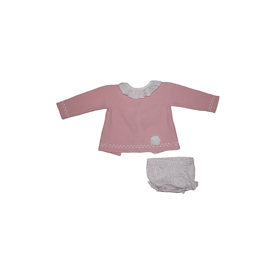 Artesania Granlei pink knit jumper with matching floral collar and bloomers