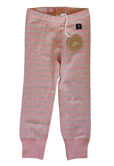Polarn O. Pyret Pink & Grey stripe leggings