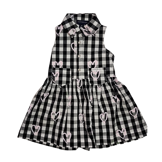 Calvin Klein Black and White Check Dress with Pink Hearts