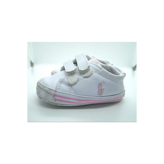 Ralph Lauren White Trainers with Baby Pink Writing