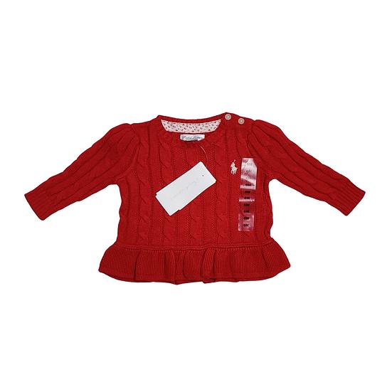 Ralph Lauren Red Cable Knit Jumper