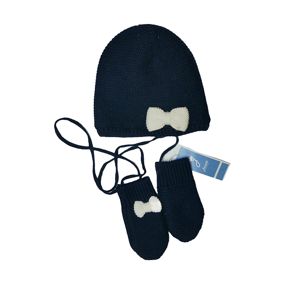 Jacadi Navy Knit Hat and matching mittens