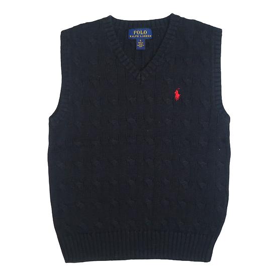 Ralph Lauren Cable Knit Navy Sleeveless Jumper