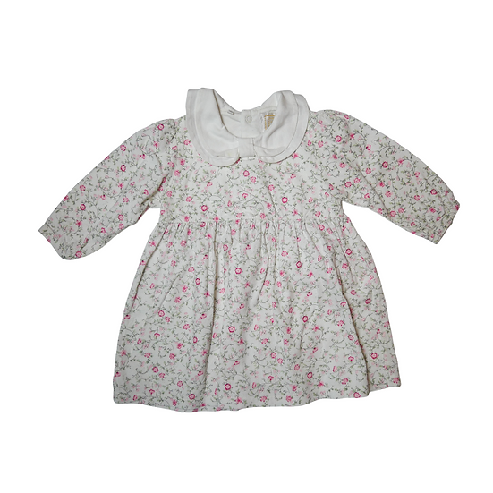 Emile et Rose Floral Dress with White Bow Collar