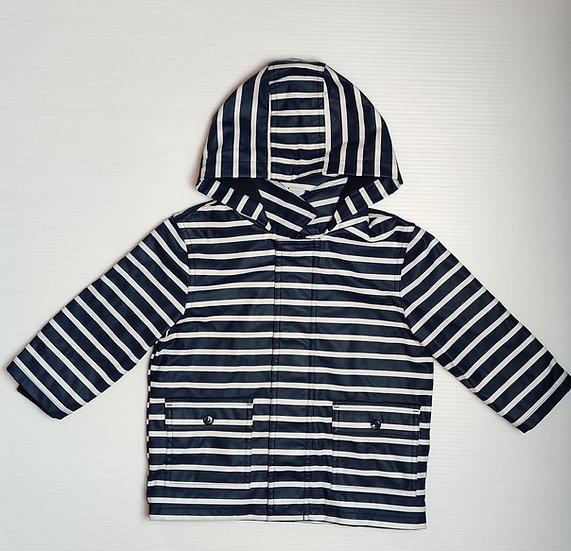 Petit Bateau Navy and White Stripped Rain Jacket