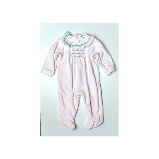 Mintini Baby Pink Velour Onsie with white frill collar