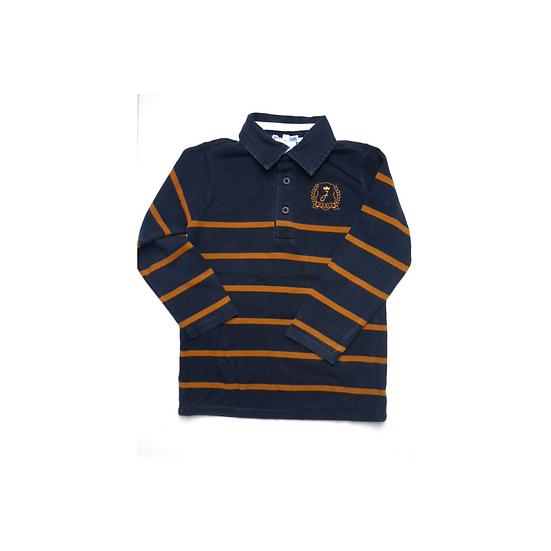Jacadi Rugby Shirt Navy with tan stripe