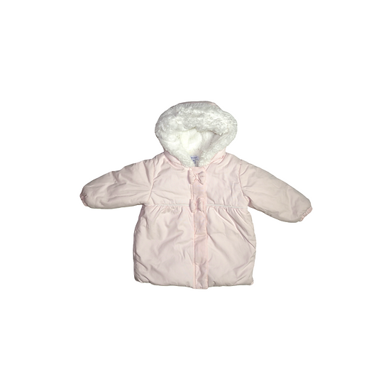 Absorba Baby Pink Coat with white fleece lining and bow detail
