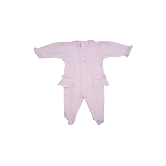Kissy Kissy pink babygrow with tutu tuile at waist, collar and feet