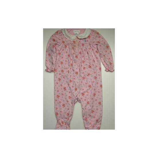 Ralph Lauren Pink Floral Cotton Footed Onsie