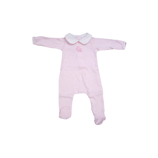 Magnolia Baby Pink and White Stripe Babygrow with bunny emblem and white frill c