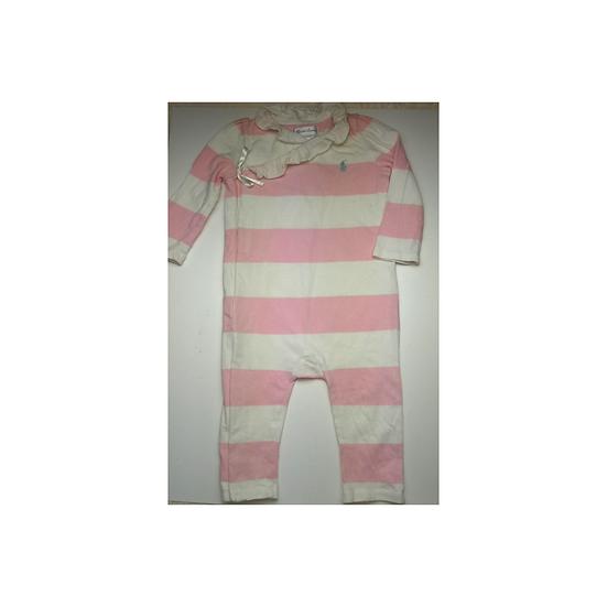 Ralph Lauren Pink Stripe Frill Collar Babygrow