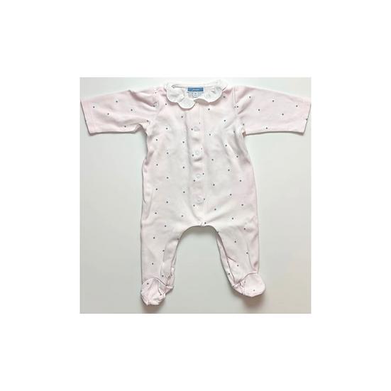Jacadi pink cotton babygrow with bunnies and frill collar