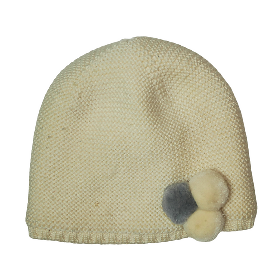Jacadi Cream Knit Hat with Baubles