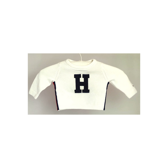 Tommy Hilfiger white knit jumper with navy H