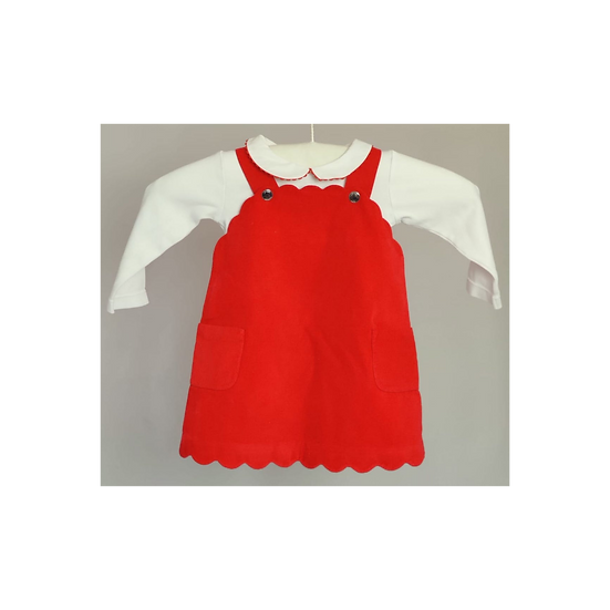 Jacadi Red Cord Dress With Matching Frill Vest