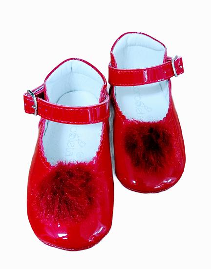 Borboleta Red Patent Mary Jane with Pom Pom