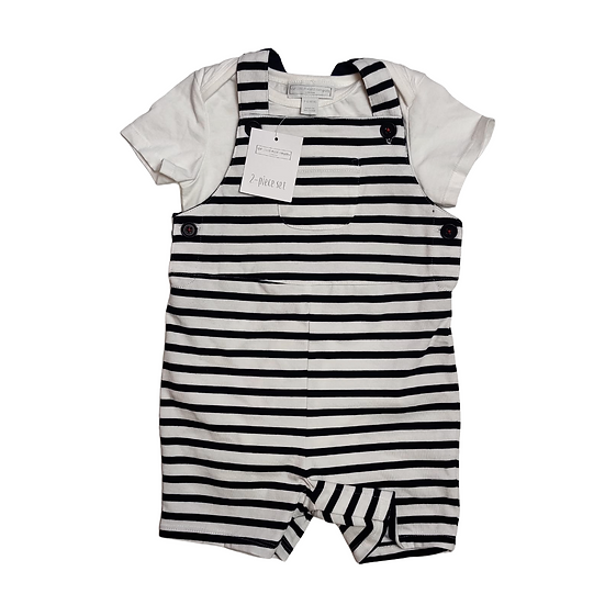 The Little White Company Navy and White Romper with tshirt
