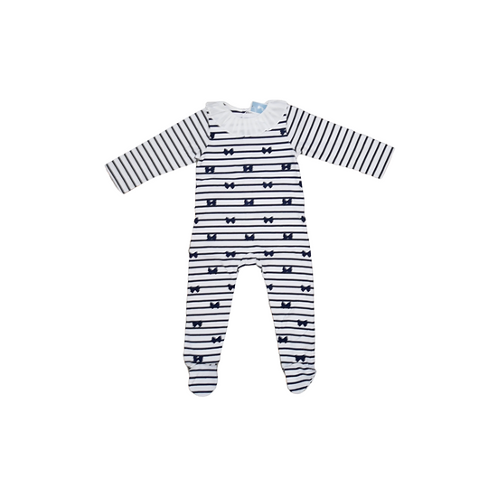 Jacadi Navy & White Striped babygrow with frill collar and bow detail