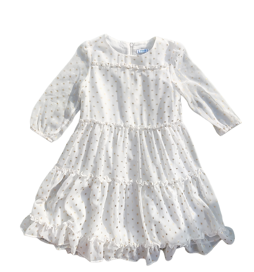 Mayoral Cream Dress with gold polka dots