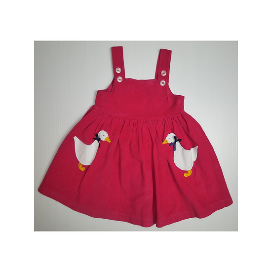 Confiture Jemima Duck Pinafore Dress in Red