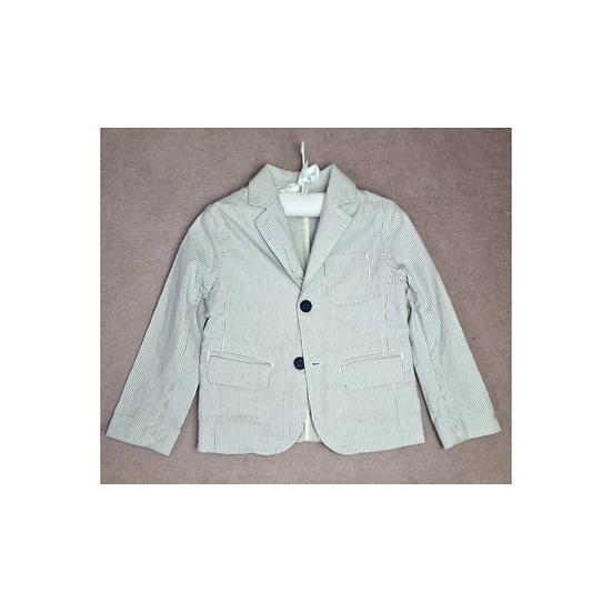 Bonpoint Cotton Blazer White with Blue Stripe