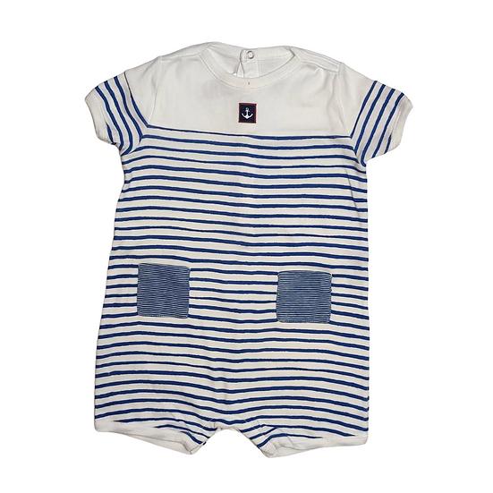 Petit Bateau Short Striped Romper - White and Blue - 100% Cotton