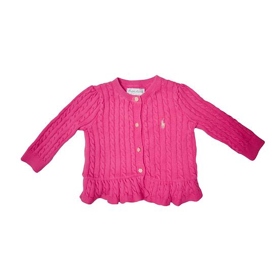 Ralph Lauren Pink Cabel Knit Cardigan