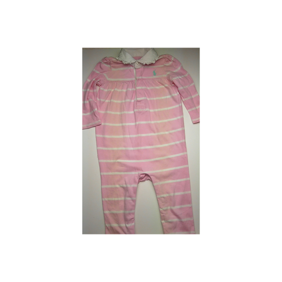 Ralph Lauren Pink Babygrow with thick white stripe